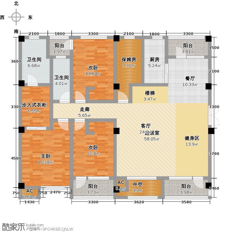 福星惠誉东澜岸191.00㎡B-1A户型 3室2厅2卫户型3室2厅2卫