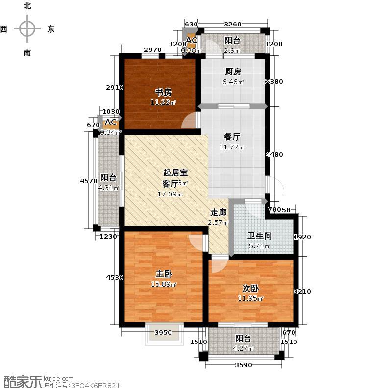 润兴新海湾115.00㎡C户型3室2厅1卫1厨户型