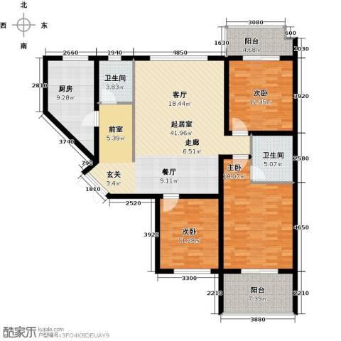 四季美景香樟雅郡3室0厅2卫1厨128.00㎡户型图