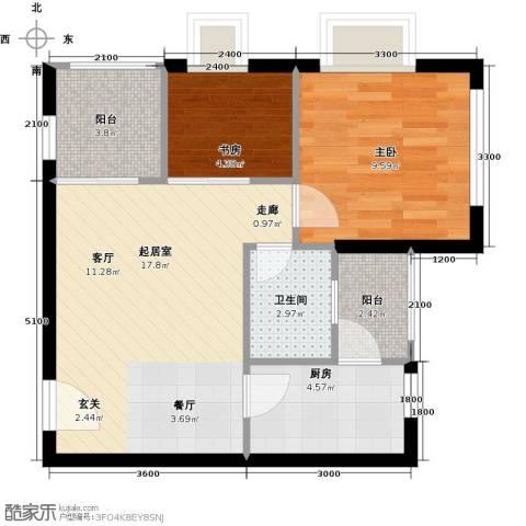 融汇半岛(二期)2室0厅1卫1厨64.00㎡户型图