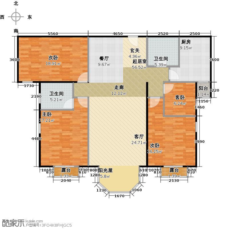 合生珠江罗马嘉园161.32㎡三室两厅两卫户型
