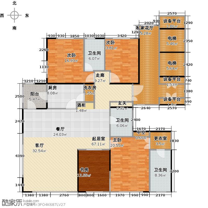 红玺台一号楼M户型4室3卫1厨