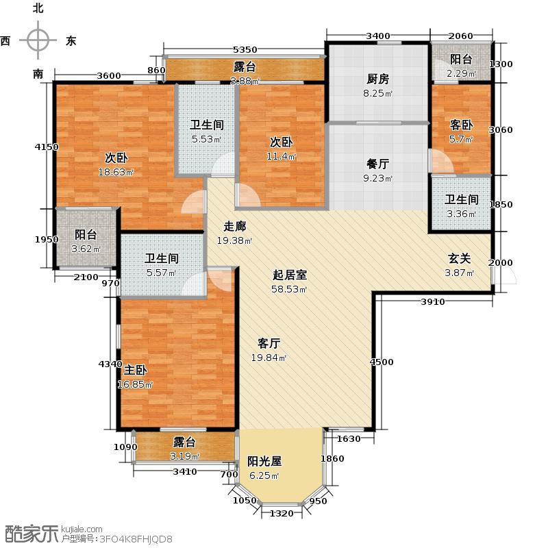 合生珠江罗马嘉园173.71㎡三室两厅三卫户型