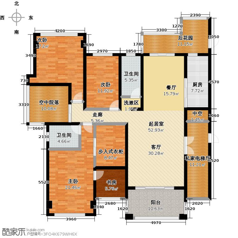 南湖半岛206.00㎡9栋 四室两厅两卫户型4室2厅2卫