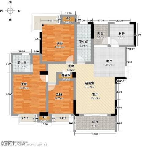 御景华府3室0厅2卫1厨129.00㎡户型图