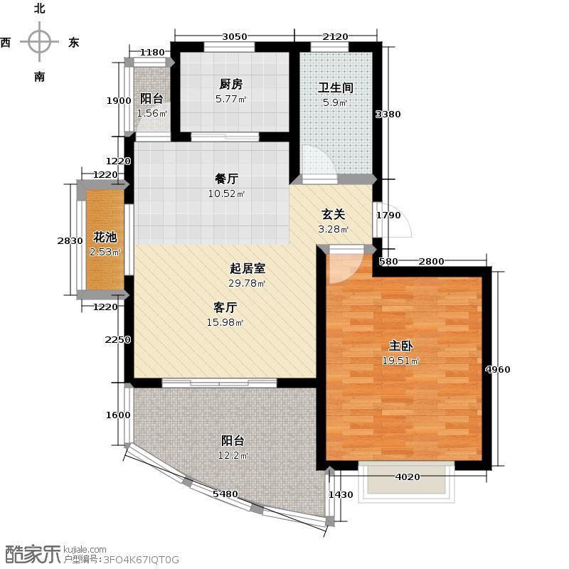 鳌山名苑84.97㎡高层C1户型1室2厅1卫