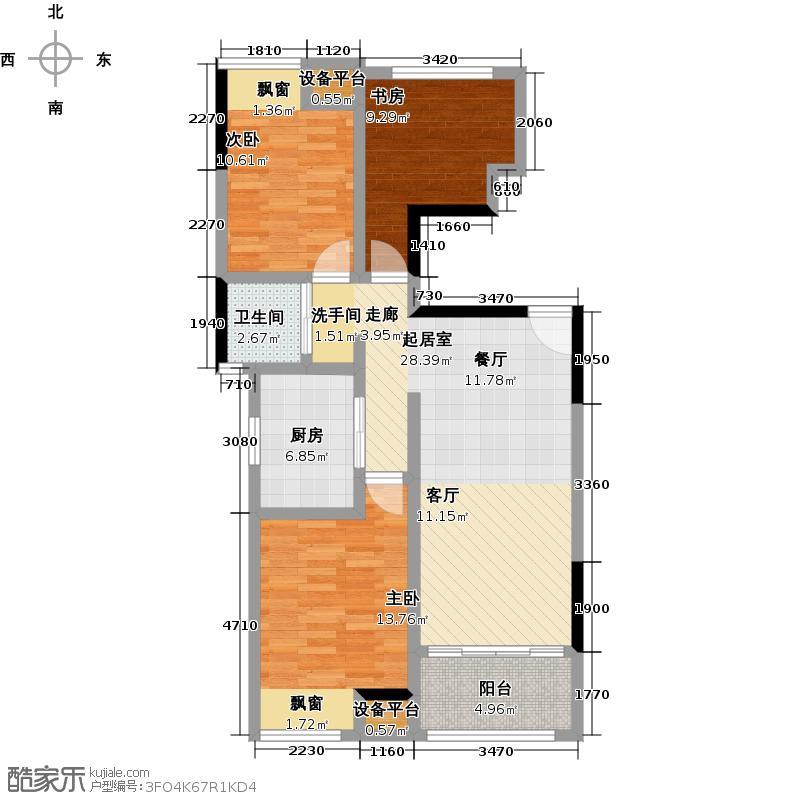 新城春天里98.00㎡F户型 三室两厅一卫户型3室2厅1卫
