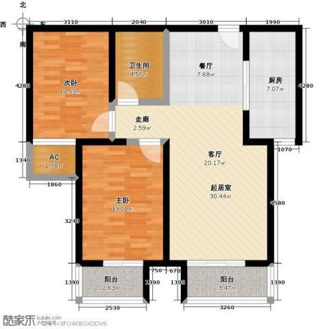 青城2室0厅1卫1厨87.00㎡户型图