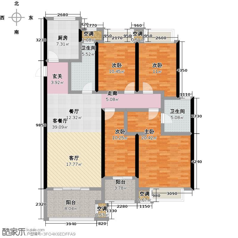 龙湖香醍漫步142.00㎡三期滨水三角洲142平米户型4室2厅2卫