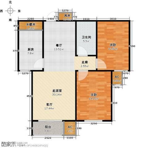 青城2室0厅1卫1厨88.00㎡户型图