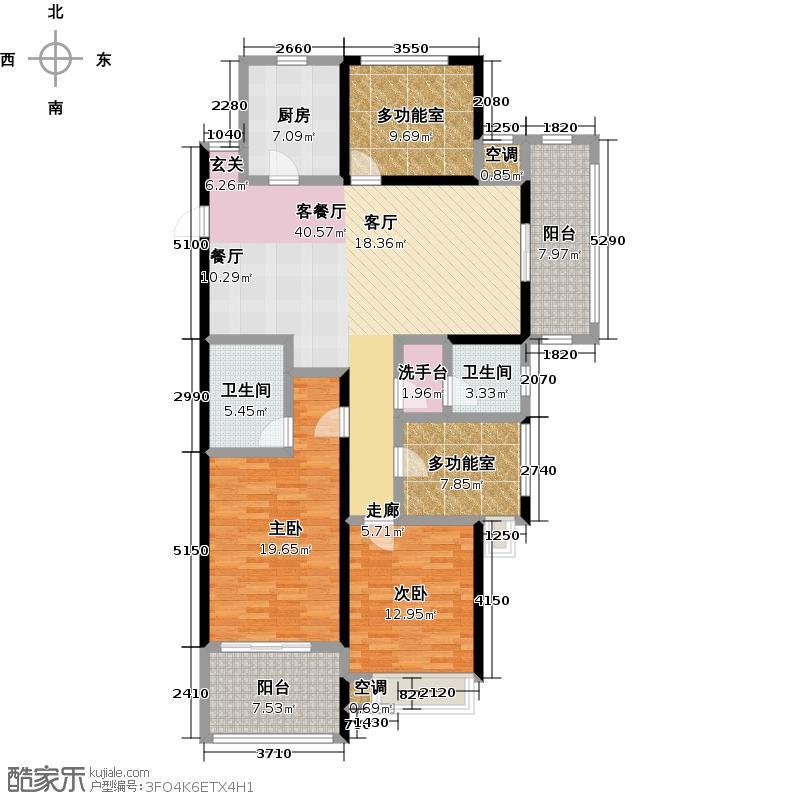 阳光龙庭143.00㎡早期销售的A户型 143平米 3+1室2厅2卫户型3室2厅2卫