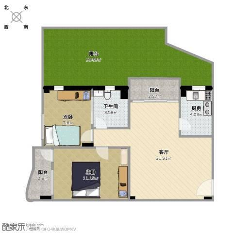南洲名苑2室1厅1卫1厨107.00㎡户型图