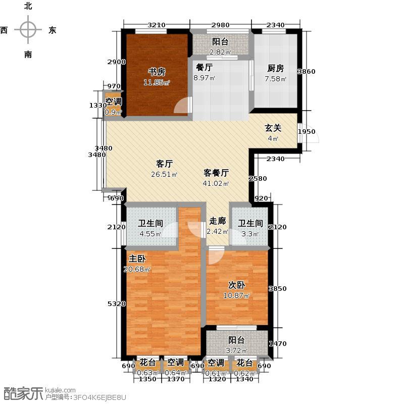 金地假日广场125.00㎡A户型 3室2厅2卫户型3室2厅2卫