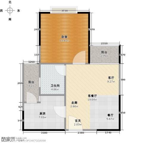 创森财富中心1厅1卫1厨68.00㎡户型图