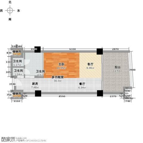 三亚海韵度假酒店3卫0厨66.00㎡户型图