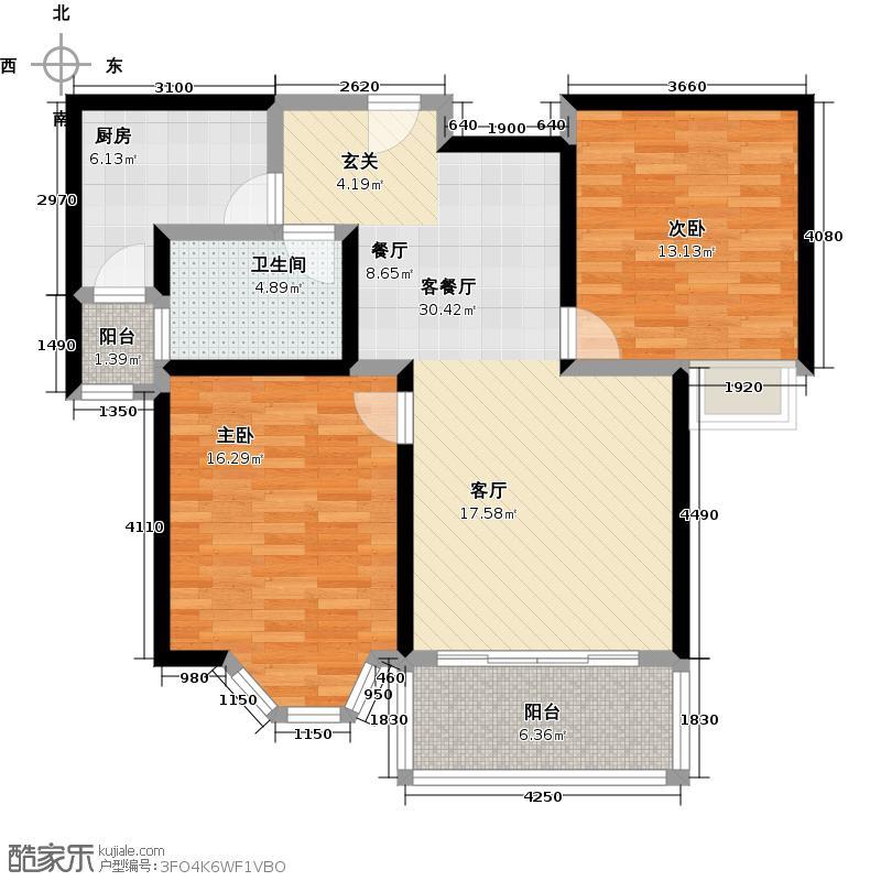 绿地崴廉宫爵18号楼、二房二厅一卫,约90平方米户型
