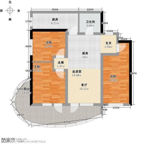 山海同湾3室0厅1卫1厨97.00㎡户型图