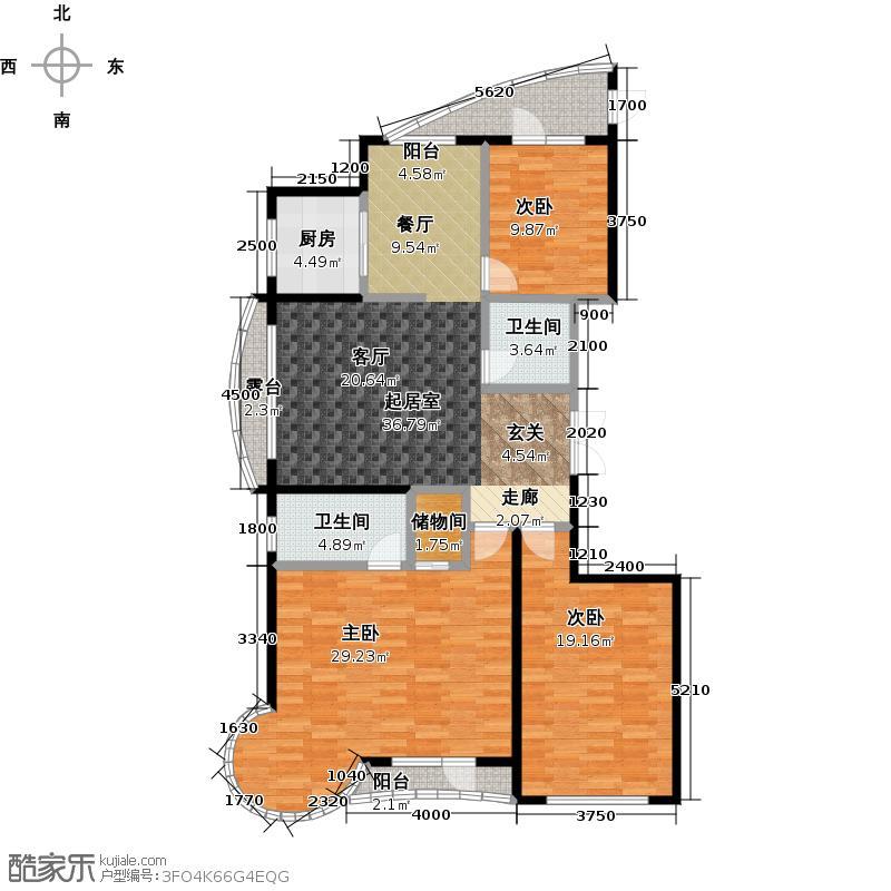 热岛黄金海岸I户型 三室二厅 168㎡户型