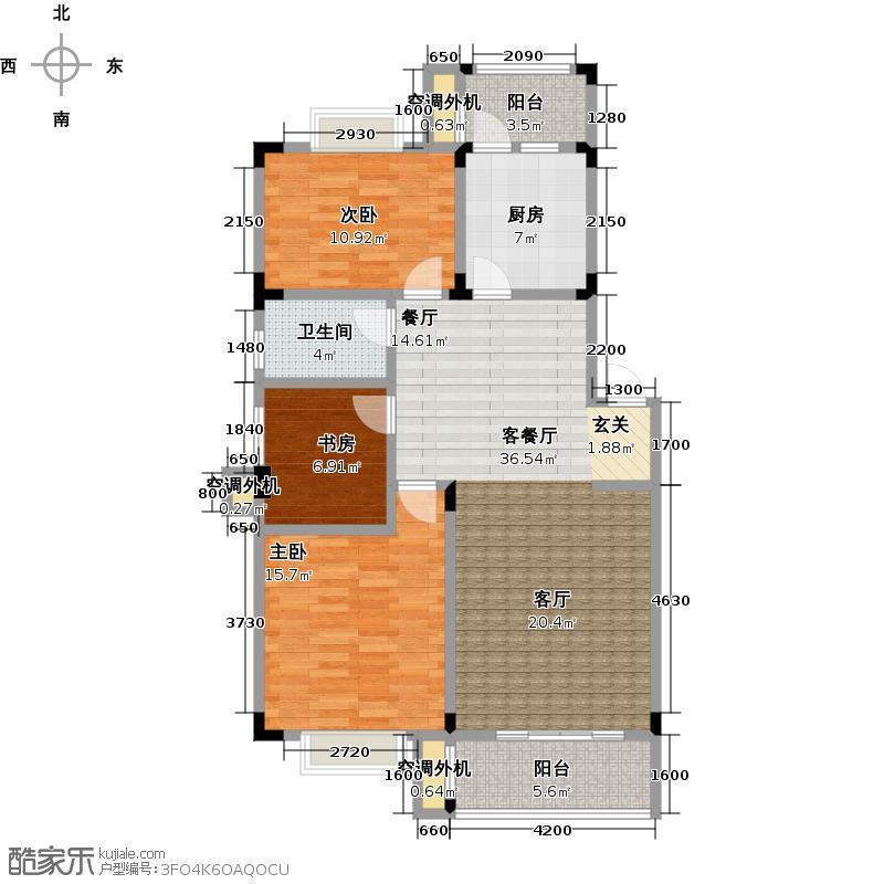 明月苑100.00㎡三房两厅一卫106m2户型