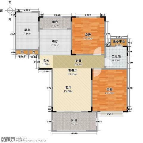 碧桂园凰城2室1厅1卫1厨90.00㎡户型图