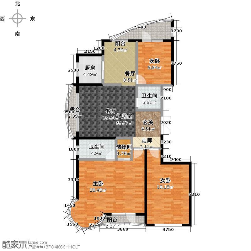 热岛黄金海岸168.00㎡I户型 3室2厅户型3室2厅