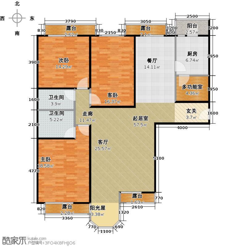 合生珠江罗马嘉园175.05㎡三室两厅两卫户型