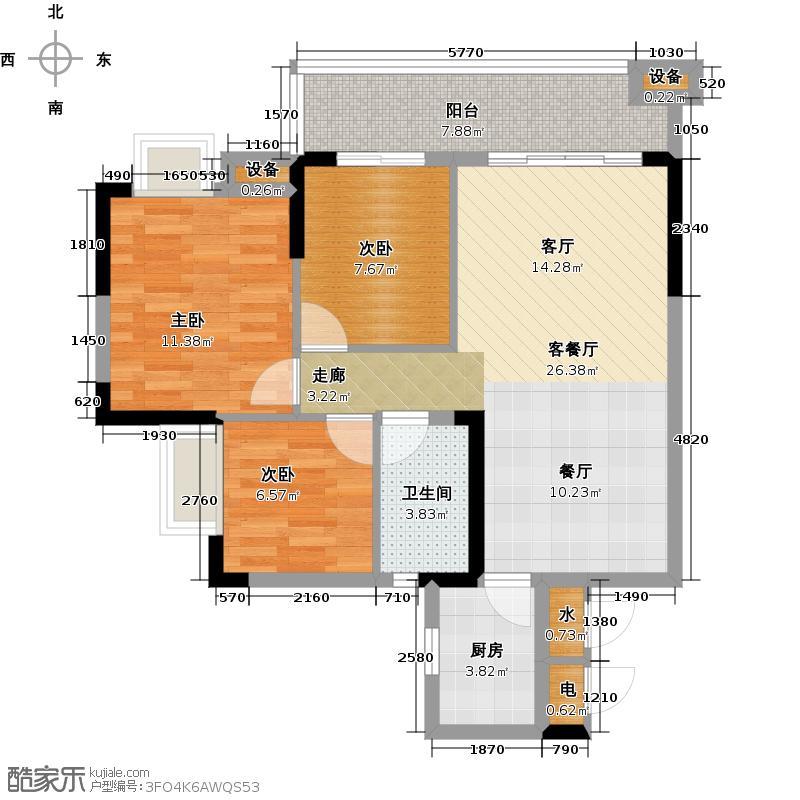 珠光御景山水城19号楼01单元03户型3室1厅1卫1厨