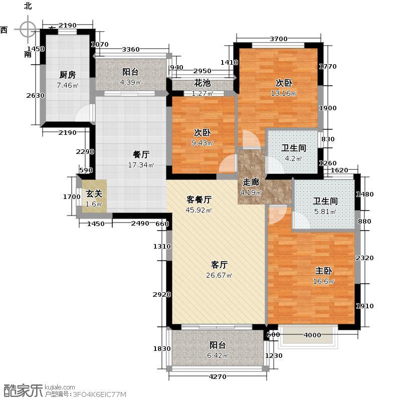 恒大银湖城38栋3-18层02户型3室1厅2卫1厨