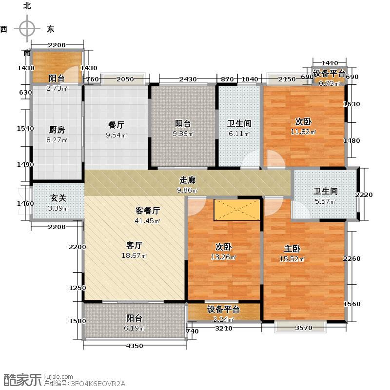 惠泽云锦城133.00㎡B1户型3室2厅2卫