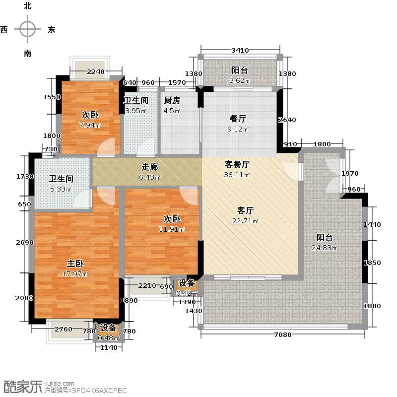 珠光御景山水城19号楼01单元02户型3室1厅2卫1厨