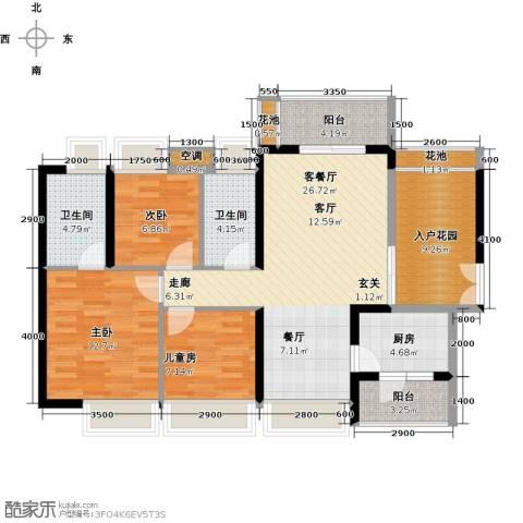中熙弥珍道3室1厅2卫1厨108.00㎡户型图