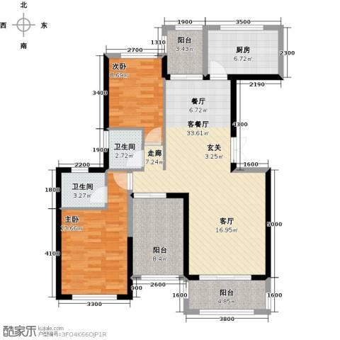 景湖荣郡2室1厅2卫1厨101.00㎡户型图