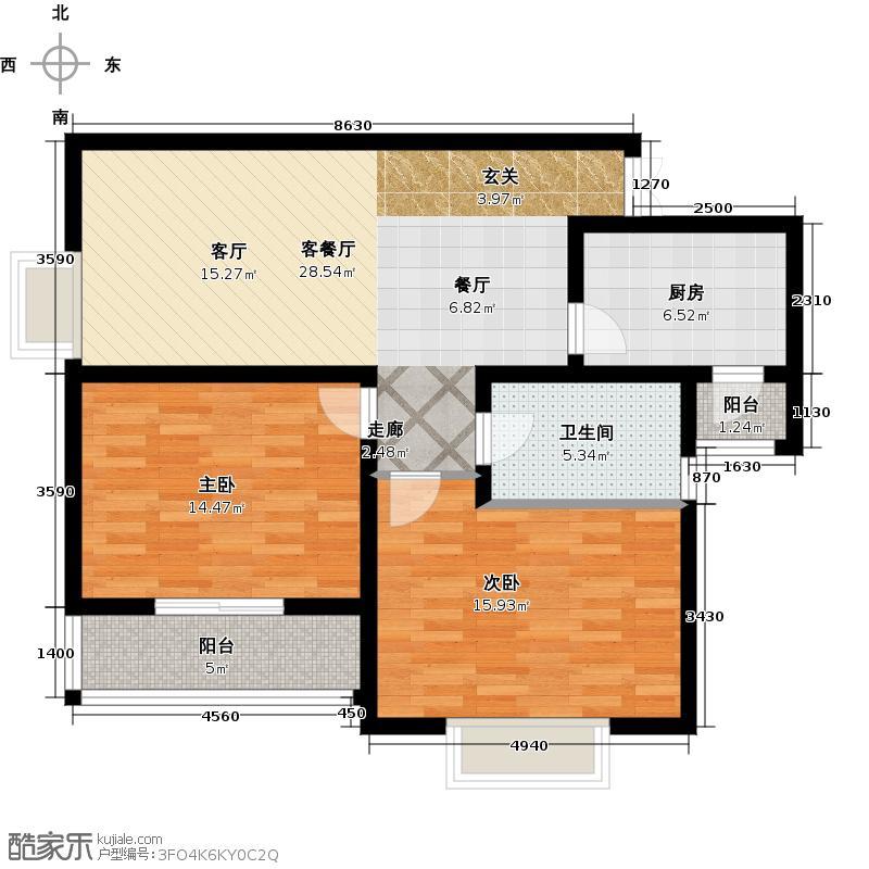 阳光星期880.00㎡房型: 二房; 面积段: 80 -100 平方米;户型