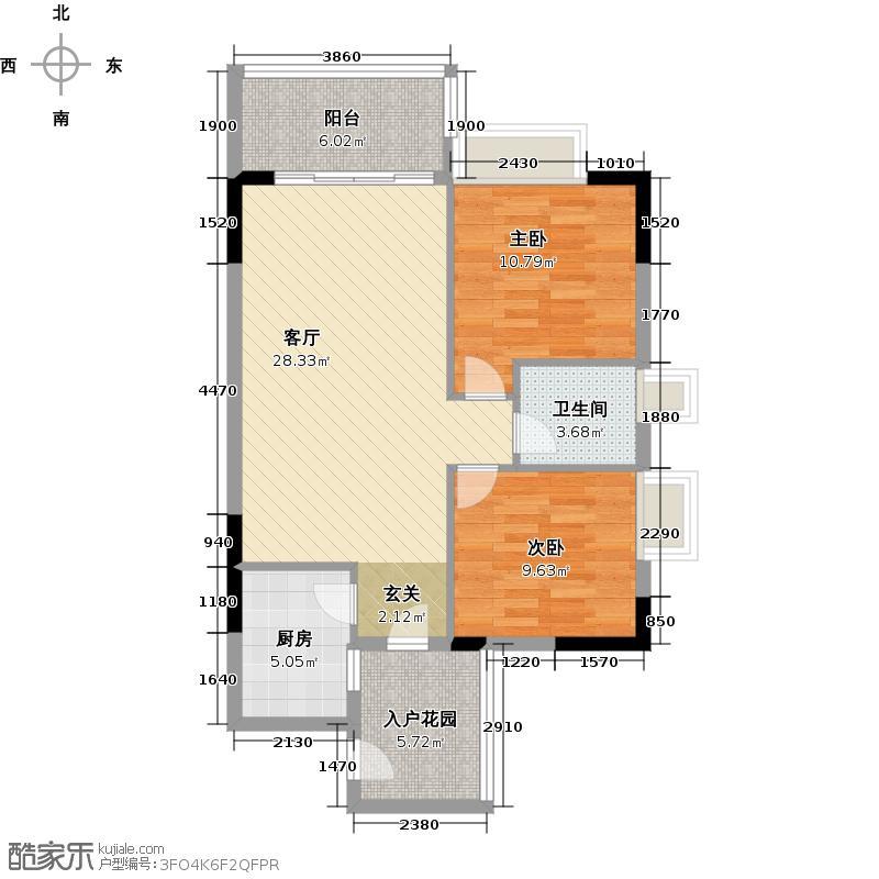 日出观山B4栋标准层户型2室1厅1卫1厨