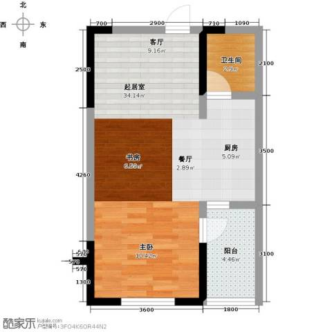 香格里拉花园四期国际广场1卫0厨54.00㎡户型图