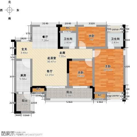 鸥鹏中央公园3室0厅2卫1厨102.00㎡户型图