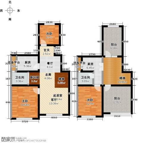 学府华园3室0厅2卫2厨138.00㎡户型图