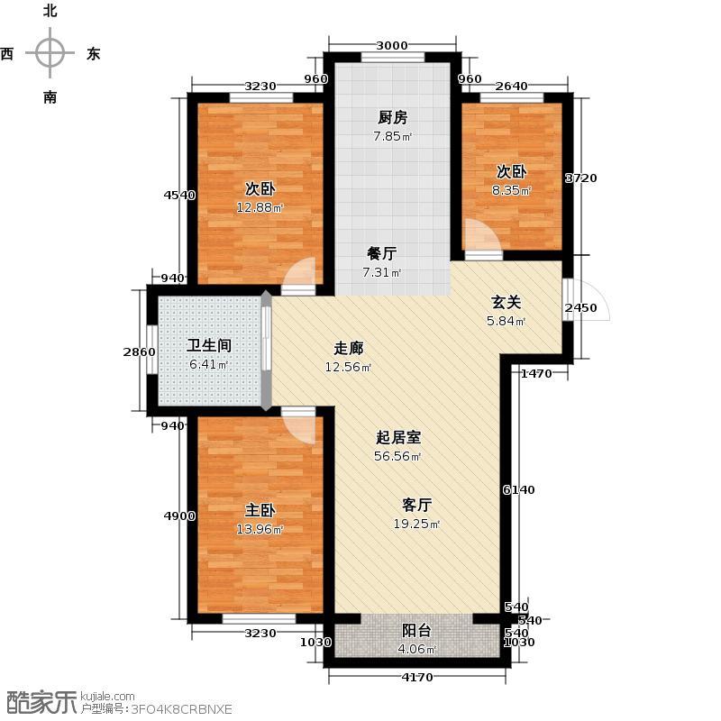 卢瓦尔小镇110.66㎡三室两厅一卫一厨110.66户型3室2厅1卫