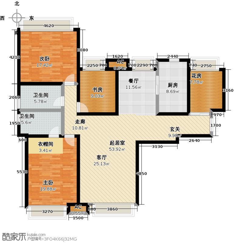 颐和星海174.36㎡B户型5-四室二厅二卫户型4室2厅-T