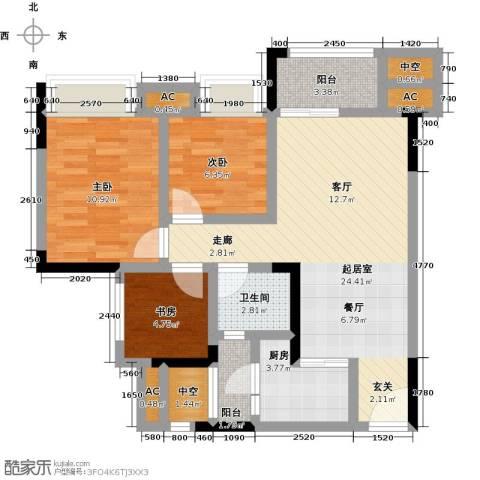 鸥鹏中央公园3室0厅1卫1厨80.00㎡户型图