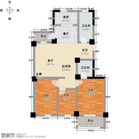 一品莲花城3室0厅2卫1厨123.00㎡户型图