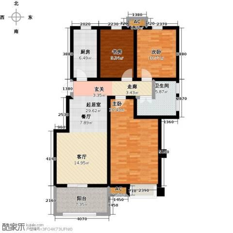 学府华园3室0厅1卫1厨97.00㎡户型图