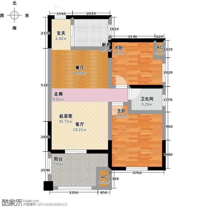 尚城未命名-T户型2室1卫1厨