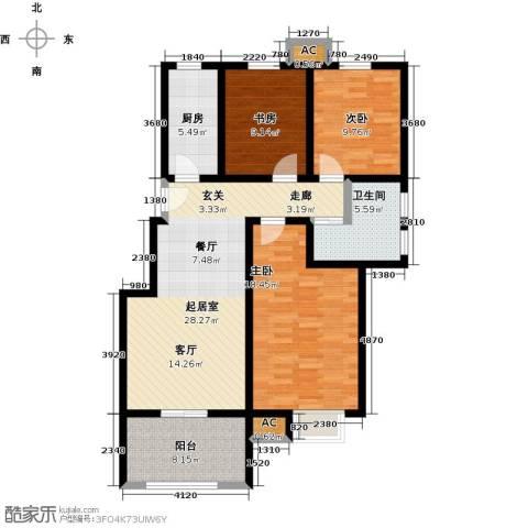 学府华园3室0厅1卫1厨125.00㎡户型图