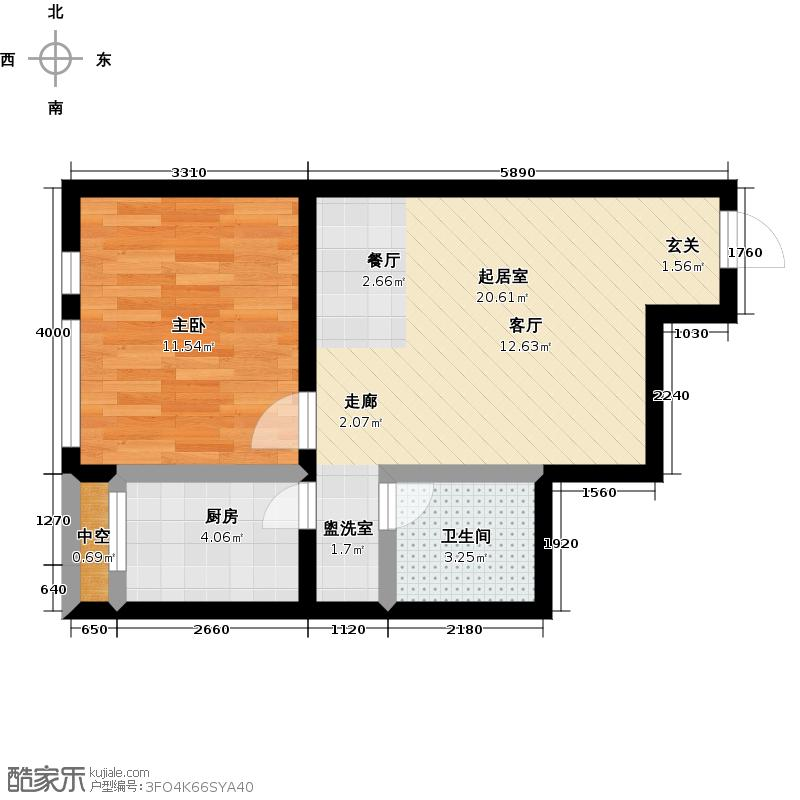颐和星海63.00㎡C户型2-5#/6# 一室一厅一卫户型1室1厅1卫