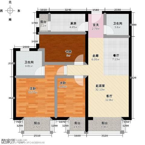 优品国际公寓3室0厅2卫1厨115.00㎡户型图