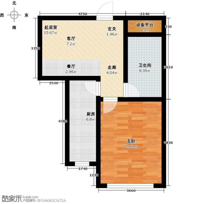 嘉和雅苑2室1厅1卫1厨63.00㎡户型2室1厅1卫