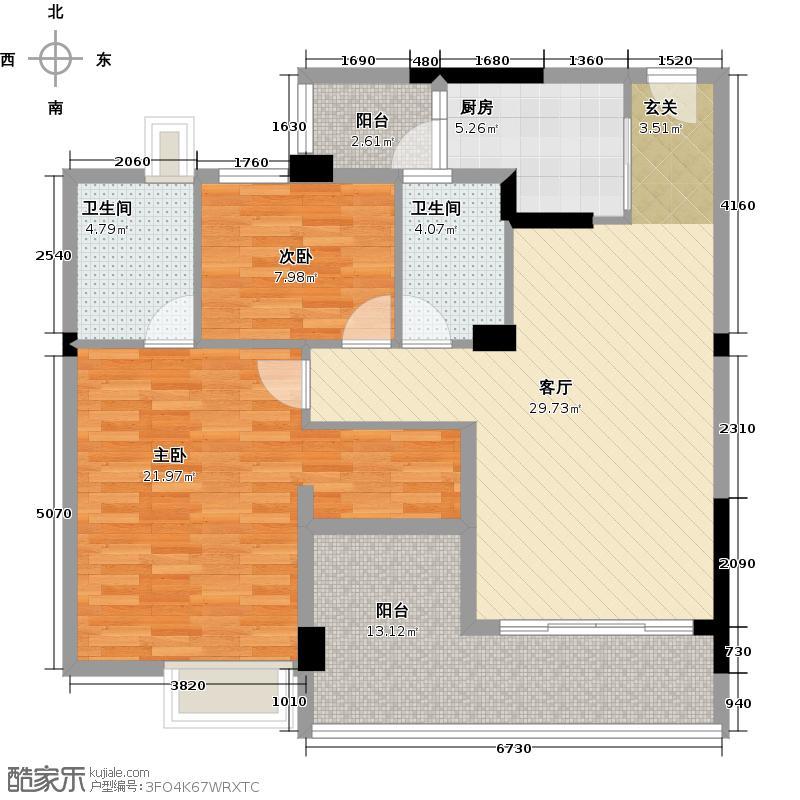 日出观山A2栋标准层02单位户型2室1厅2卫1厨