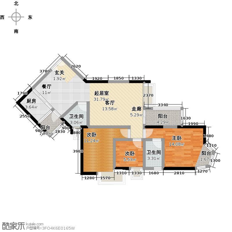 馨领域8-10栋B4型户型3室2卫1厨