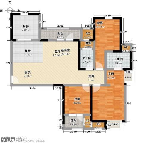 金地格林东郡3室0厅2卫1厨129.00㎡户型图